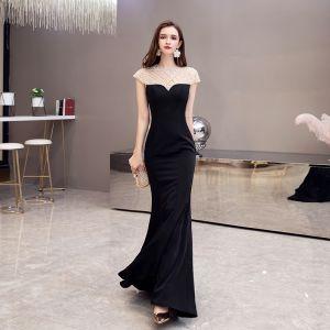 Mode Schwarz Durchsichtige Abendkleider 2020 Meerjungfrau Rundhalsausschnitt Kurze Ärmel Perlenstickerei Sweep / Pinsel Zug Rückenfreies Festliche Kleider