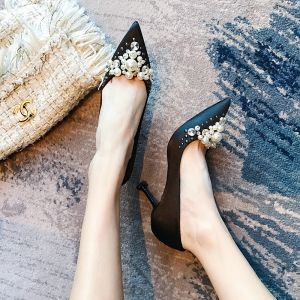 Classy Black Evening Party Satin Pumps 2020 Handmade  Pearl Rhinestone 8 cm Stiletto Heels Pointed Toe Pumps