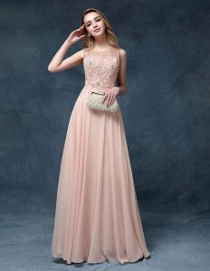 2015 Square Neckline Embroidered Lace Beading Chiffon Evening Dress