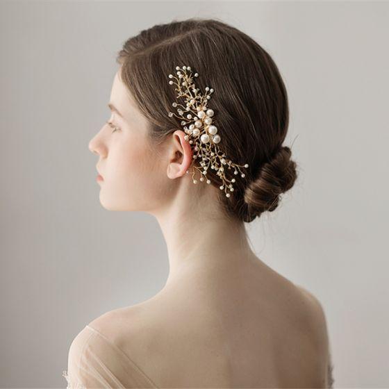 Elegant Gold Headpieces Bridal Hair Accessories 2020 Metal Rhinestone Pearl Wedding Accessories