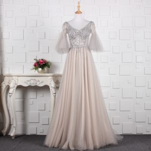 Modern / Fashion Grey Handmade  Beading Evening Dresses  2019 A-Line / Princess Rhinestone Sequins V-Neck Bell sleeves Backless Floor-Length / Long Formal Dresses
