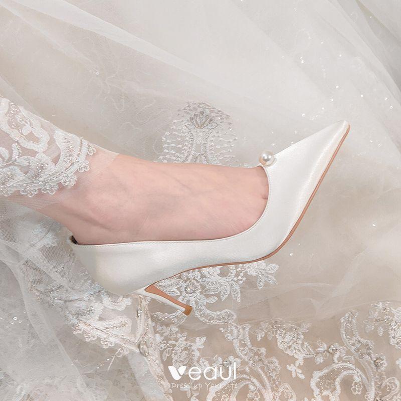 Elegant White Satin Wedding Shoes 2020
