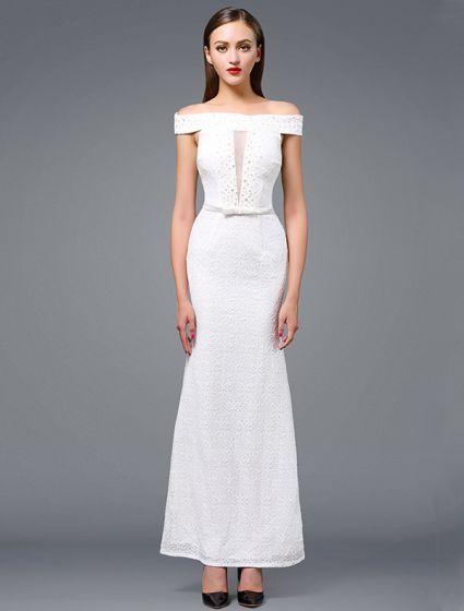 9e3942ac0 Vestido De Noche Blanco De La Manera 2016 Sirena Fuera Del Hombro Que  Rebordea El Vestido De Encaje Blanco Largo ...