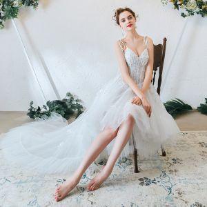 Light Ivory Beach Wedding Dresses 2020 A-Line / Princess Spaghetti Straps Beading Sequins Appliques Lace Sleeveless Backless Ruffle Sweep Train