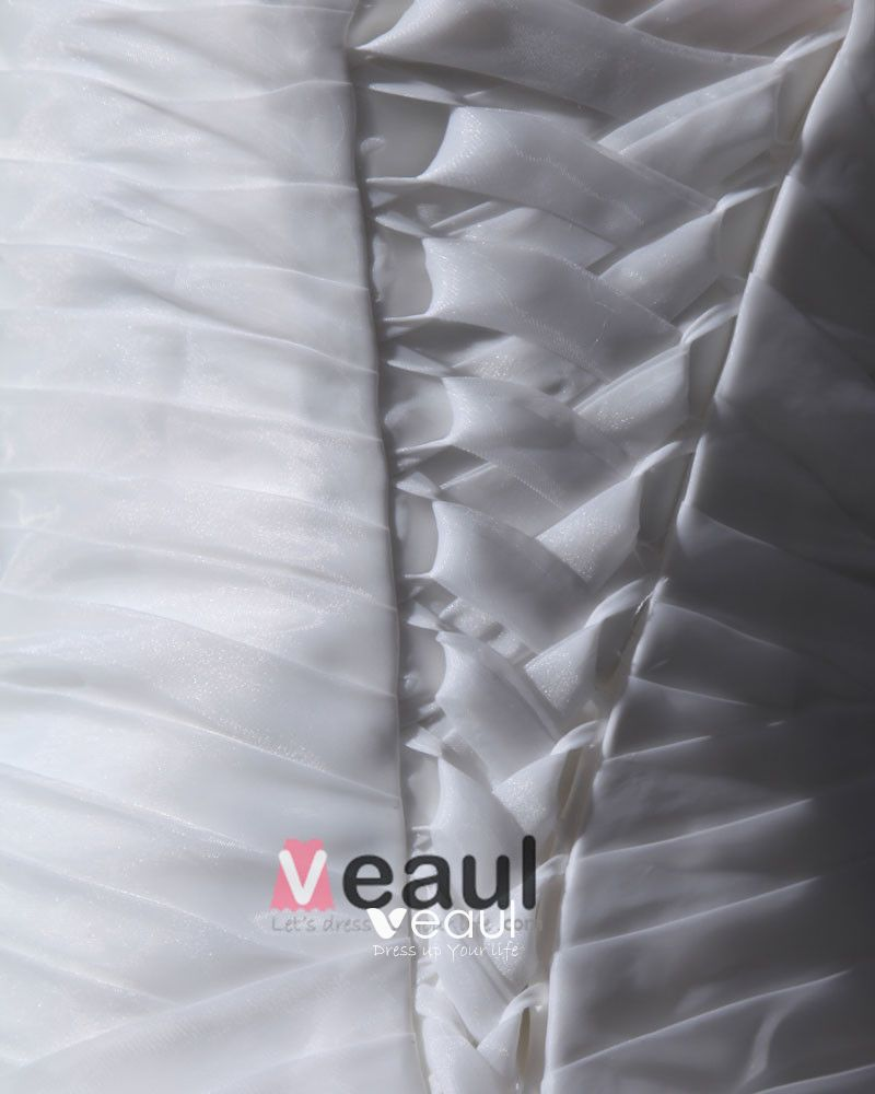 Yarn Satin Ruffles Handmade Flower Sleeveless One Shoulder Chapel Train A-Line Wedding Dresses