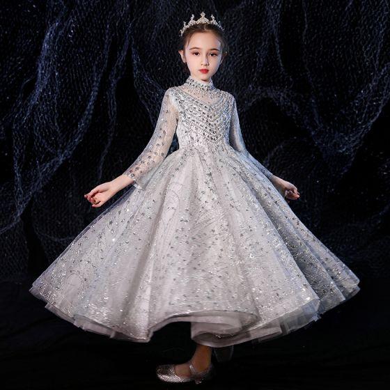 Vintage / Retro Grey See-through Flower Girl Dresses 2020 A-Line / Princess High Neck Long Sleeve Beading Rhinestone Floor-Length / Long Ruffle