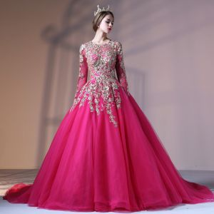 Chic / Beautiful Fuchsia Prom Dresses 2017 Ball Gown Lace Flower Pearl Scoop Neck Backless Long Sleeve Court Train Formal Dresses