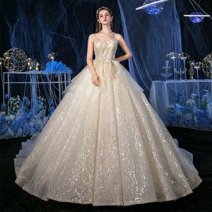 Sparkly Champagne Sequins Bridal Wedding Dresses 2020 Ball Gown Spaghetti Straps Sleeveless Backless Appliques Lace Beading Glitter Tulle Royal Train Ruffle