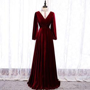 Élégant Bordeaux Robe De Soirée 2020 Princesse Daim Col Haut Paillettes Manches Longues Longue Robe De Ceremonie