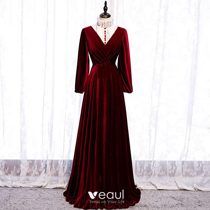Elegant Bordeaux Robe De Soiree 2020 Princesse Daim Col Haut Paillettes Manches Longues Longue Robe De