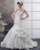 Taffeta Applique Sweetheart Cathedral Train Mermaid Wedding Dresses