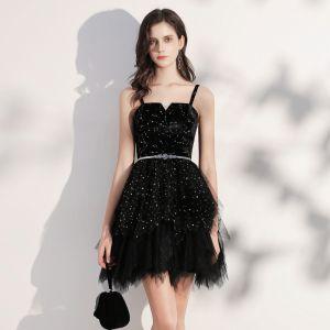 Elegant Black Cocktail Dresses 2020 Ball Gown Spaghetti Straps Sleeveless Star Embroidered Sequins Metal Sash Short Ruffle Backless Little Black Dress