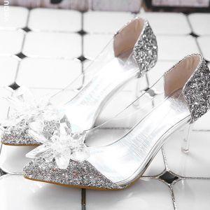 Assepoester Zilveren Doorzichtig Kristal Bruidsschoenen 2020 Pailletten 7 cm Naaldhakken / Stiletto Spitse Neus Huwelijk Pumps
