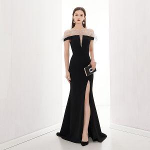 Mode Sorte Selskabskjoler 2020 Havfrue Off-The-Shoulder Kort Ærme Plettet Tulle Split Foran Feje tog Halterneck Kjoler
