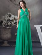 2015 Charming Empire Pleated V-neck Shoulders Beading Crystal Evening Dress