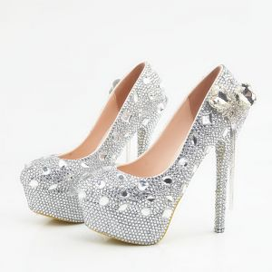 Scintillantes Argenté Chaussure De Mariée 2018 Cuir Gland Cristal Faux Diamant 14 cm Talons Aiguilles À Bout Rond Mariage Escarpins