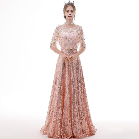 Erschwinglich Rose Gold Durchsichtige Abendkleider 2020 A Linie Rundhalsausschnitt 1/2 Ärmel Metall Stoffgürtel Pailletten Quaste Lange Rüschen Festliche Kleider