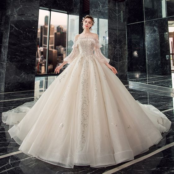 Victorian Style Champagne Wedding Dresses 2019 Ball Gown Off-The-Shoulder Puffy 3/4 Sleeve Backless Appliques Lace Sequins Beading Cathedral Train Ruffle