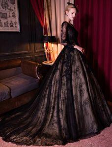 Élégant Robe De Bal Avec Manches Longues Robe De Ceremonie En Dentelle Noire 2017