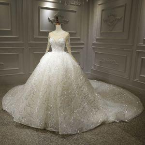 Luxus Hvide Bryllups Brudekjoler 2020 Balkjole Gennemsigtig Scoop Neck Langærmet Halterneck Applikationsbroderi Med Blonder Beading Pailletter Royal Train Flæse