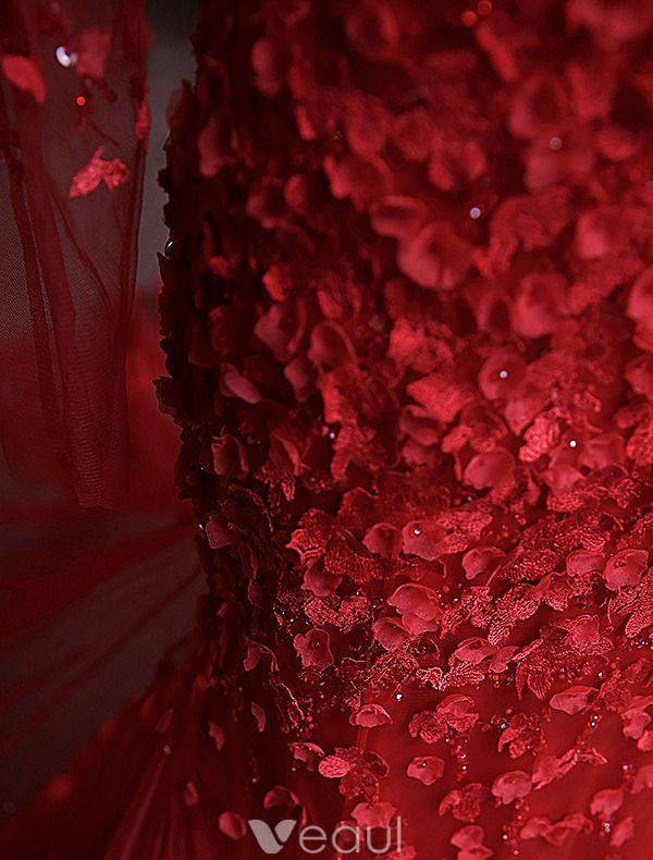 Zeemeermin Avondjurken 2016 Applique Bloemen Rood Tule Ruglooze Lange Galajurk Met Mouwen