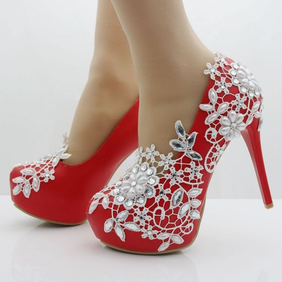 Chic / Beautiful Red Wedding Shoes 2018 Appliques Lace Pearl Rhinestone 14 cm Stiletto Heels Round Toe Wedding Pumps
