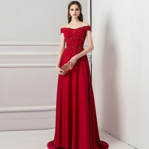 Chic / Beautiful Burgundy Evening Dresses  2018 A-Line / Princess Lace Beading Pearl Rhinestone Off-The-Shoulder Sleeveless Backless Sweep Train Formal Dresses