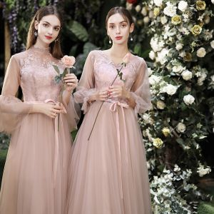 Abordable Perle Rose Robe Demoiselle D'honneur 2020 Princesse Dos Nu Appliques En Dentelle Ceinture Thé Longueur Volants