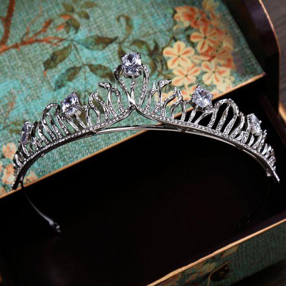 Klassisk Sølv Har Tilbehor 2020 Metall Rhinestone Tiara Bryllups Tilbehør