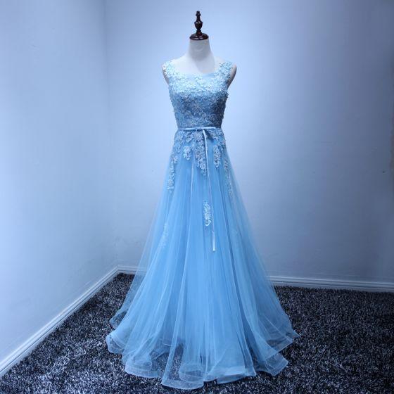 Elegant Pool Blue Evening Dresses  2017 A-Line / Princess Floor-Length / Long Cascading Ruffles Scoop Neck Sleeveless Backless Beading Sequins Lace Appliques Sash Formal Dresses