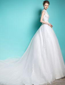 Elegant Prinsessa Bröllopsklänningar 2016 A-line Hög Hals Beading Paljetter Applikations Spets Brudklänning Med Lång Svans