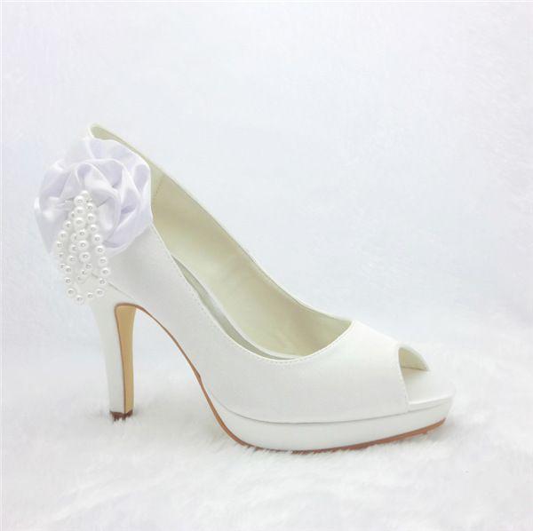 Beautiful White Bridal Shoes Satin Peep