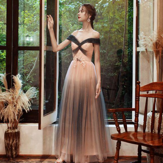 Elegant Candy Pink Evening Dresses  2020 A-Line / Princess Off-The-Shoulder Short Sleeve Appliques Lace Beading Glitter Tulle Floor-Length / Long Backless Formal Dresses