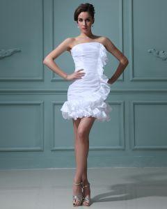 Taft Trägerlosen Rüsche Kurz Hochzeitskleid Brautkleider