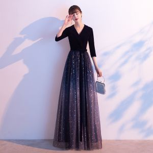 Charming Navy Blue Starry Sky Evening Dresses  2020 A-Line / Princess Suede V-Neck Glitter Sequins Bow 3/4 Sleeve Floor-Length / Long Formal Dresses