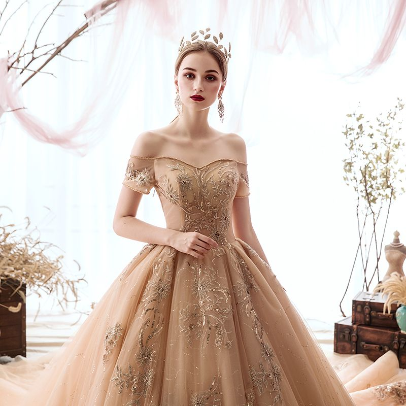 Luxury / Gorgeous Champagne Wedding Dresses 2019 A-Line / Princess Off-The-Shoulder Beading Sequins Lace Flower Short Sleeve Backless Royal Train