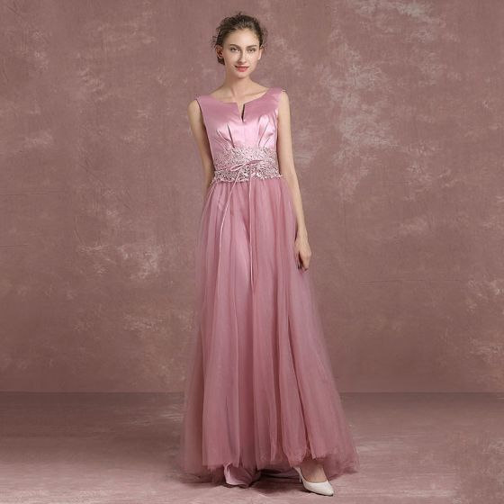 Modern / Fashion Candy Pink Evening Dresses  2018 A-Line / Princess Amazing / Unique V-Neck Sleeveless Appliques Lace Rhinestone Sash Floor-Length / Long Backless Formal Dresses