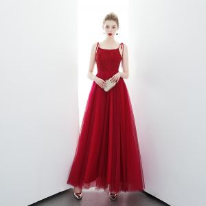Chic / Beautiful Red Evening Dresses  2020 A-Line / Princess Spaghetti Straps Sleeveless Beading Floor-Length / Long Ruffle Backless Formal Dresses
