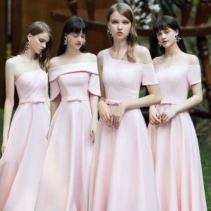 Betaalbare Blozen Roze Satijn Bruidsmeisjes Jurken 2020 A lijn Ruglooze Strik Gordel Lange Ruche