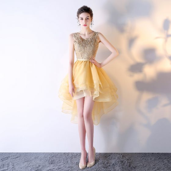 Luxury / Gorgeous Gold Graduation Dresses 2017 U-Neck Lace Appliques Strappy Backless Homecoming Cocktail Dresses