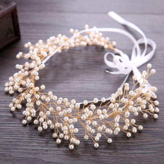 Charmant Goud Hoofdbanden Bruids Haaraccessoires 2020 Legering Lace-up Parel Haaraccessoires Huwelijk Accessoires