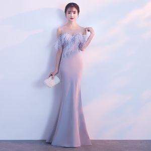Piękne Szary Sukienki Wieczorowe 2018 Syrena / Rozkloszowane Pióro Wycięciem Bez Ramiączek Bez Rękawów Długie Sukienki Wizytowe