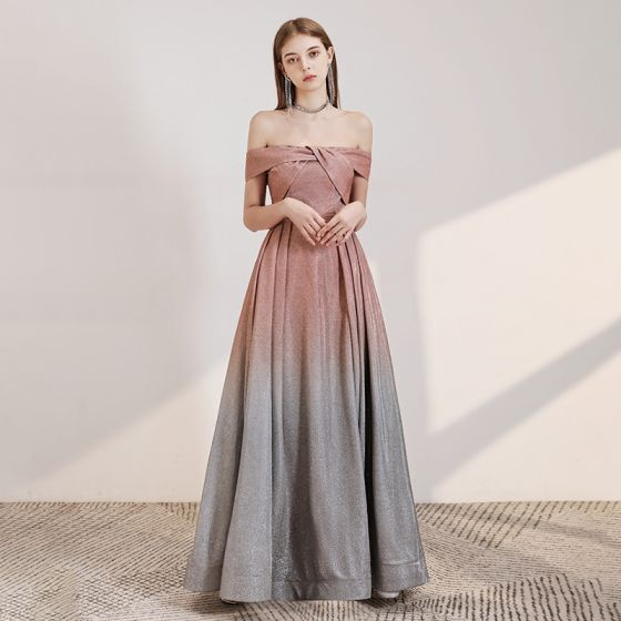 Chic / Beautiful Pearl Pink Gradient-Color Grey Evening Dresses  2020 A-Line / Princess Off-The-Shoulder Short Sleeve Glitter Polyester Floor-Length / Long Backless Formal Dresses