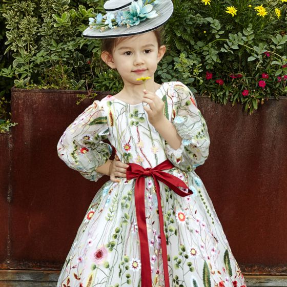 Fine Kjoler Til Bryllup 2017 Blomsterpikekjoler Hvit Prinsesse Satin Sash Te-lengde Scoop Halsen Langermede Blomst Appliques