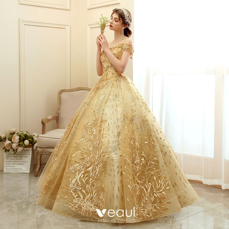 Elegant Gold Prom Dresses 2020 Ball Gown Off The Shoulder Short Sleeve Appliques Lace Glitter Tulle Floor Length Long Ruffle Backless Formal Dresses,Black And White Wedding Bridesmaid Dresses