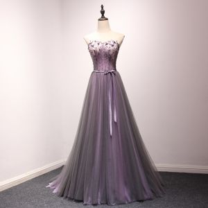 Chic / Beautiful Grape Prom Dresses 2018 A-Line / Princess Lace Appliques Crystal Sequins Bow Sweetheart Backless Sleeveless Floor-Length / Long Formal Dresses