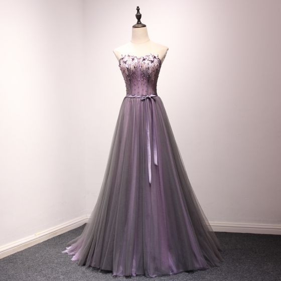b861cd2cd5 Chic   Beautiful Grape Prom Dresses 2018 A-Line   Princess Lace Appliques  Crystal Sequins Bow Sweetheart Backless ...