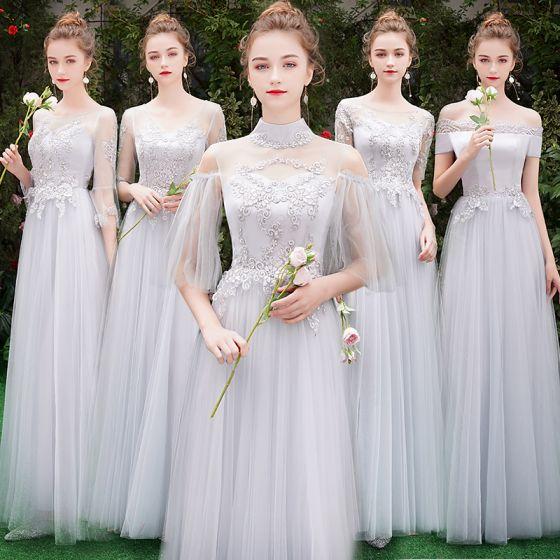 ce539a0e5f6597 Prachtige Mooie Bruidsmeisjes Appliques Grijs A Jurken 2019 Lijn qMVzSUjLGp