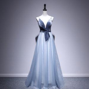 Chic / Belle Bleu D'encre Robe De Soirée 2020 Princesse Daim Bretelles Spaghetti Sans Manches Dos Nu Longue Robe De Ceremonie