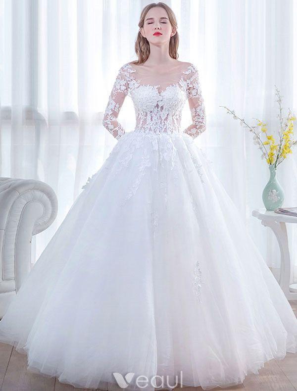 Glamorous Wedding Dresses 2017 Square Neckline Applique Laces White Tulle Bridal Gowns